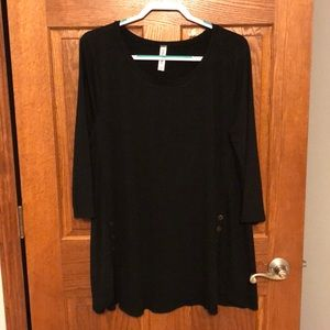 Black Button Front Tunic Top NWOT